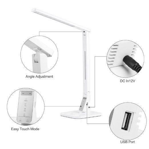 Unique TaoTronics W Schreibtischlampe LED Tischlampe Modi dimmbar mit eingebautem USB Anschluss zum Aufladen von