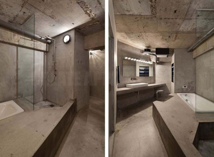 """The project House in Jiyugaoka is presented by the architectural bureau """"Airhouse Design Office"""" and is a vivid example of modern design of the apartment with a half-century history. It is performed only by concrete surfaces including walls, ceilings and floors."""