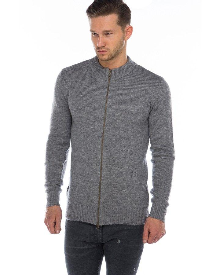 ATF MCKELLEN Zipper-Jacke Hellgrau  warme Zipper-Jacke von ATF für Herren aus einer Mohair-Mischung in Hellgrau durchgehender Reißverschluss Strick-Optik Rippstrickbündchen an Ärmeln und Bundabschluss leichte melierte-Optik