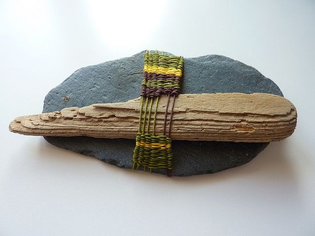 Slate and driftwood tapestry weaving