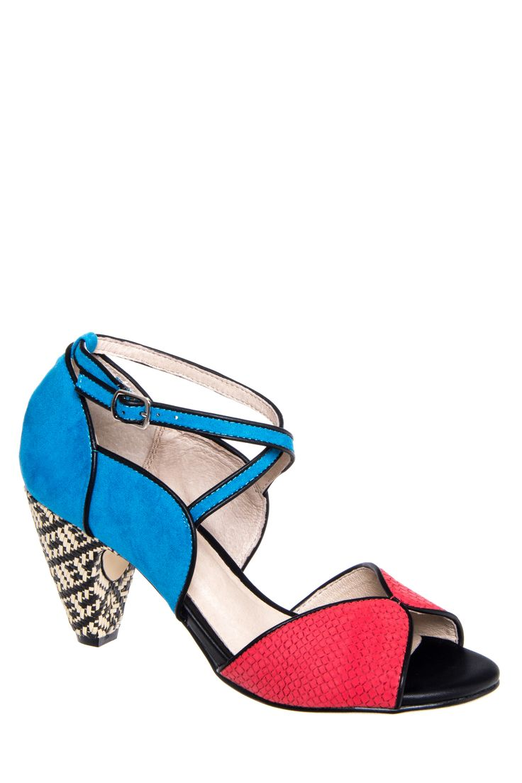 Rockabilly Shoes for Women Chelsea Crew Nelly Mid Heel Sandal - Red  Turquoise $64.99 AT vintagedancer.com