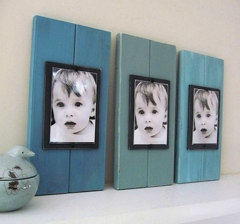 Framed series of pictures.    Use scrap wood, and paint in different shades, staying in the same color family.  Place B & W photo in frame and hang or mount to wood.