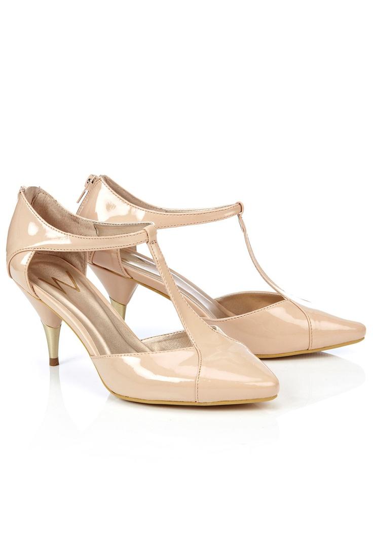 Cream T-Bar Pointed Court Shoe