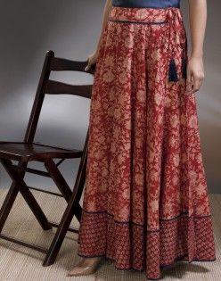 Cotton Printed Contrast Border Long Skirt. fabindia
