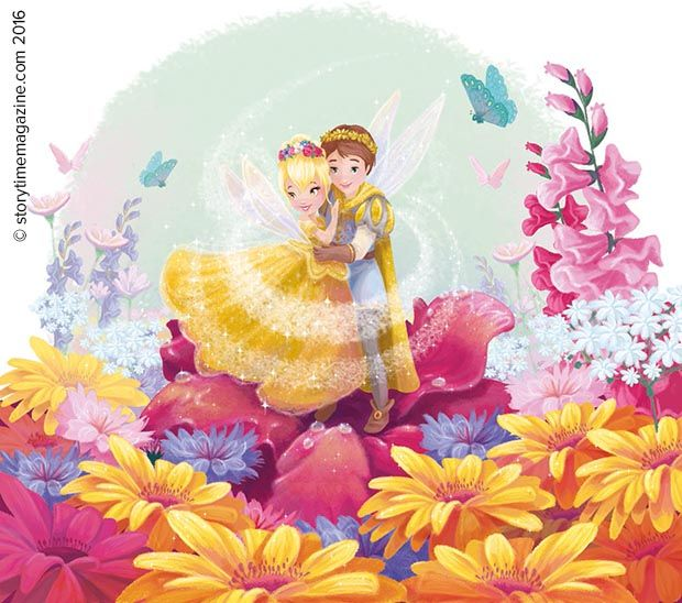 Thumbelina - the fairy queen of flowers! Read her adventures in Storytime Issue 17. Illustration by Line Paquet (http://www.illuline.be) ~ STORYTIMEMAGAZINE.COM