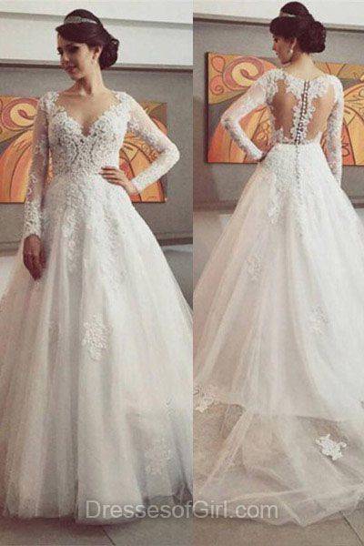 Princess Wedding Dresses, Long Sleeve Bridal Gowns, V-neck Wedding Dress, Fashion Lace Bridal Dresses, White Long Beach Wedding Dresses