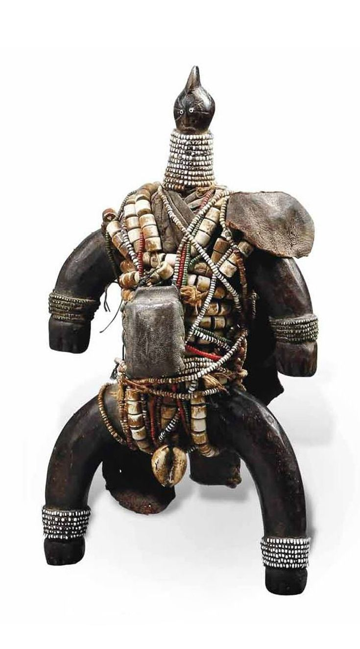 Africa | Doll from the Namji people of Cameroon | Wood, glass beads, metal, leather, fiber, shells