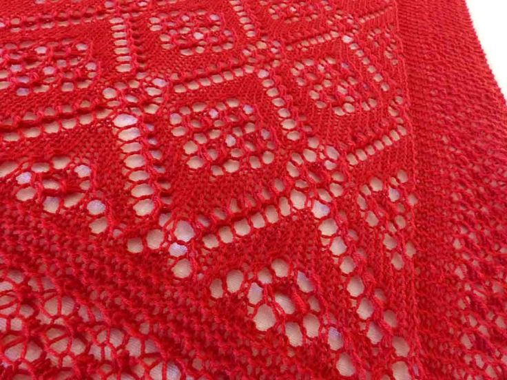 Detail of the Rose Maiden stole I knitted for my friend Annie