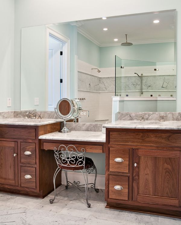 Double Vanity with Makeup Table | Vanity Unit Inspiration For Your En-Suite Bathroom
