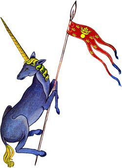 """The Unicorn of Lorenzburg holding the Oriflamme """"Flame of Lorenzburg"""" - The national Flag of the Principality. Follow the link to read more about the flag."""