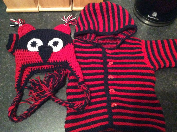 navy and red stripey hoodie, and crochet owl hat