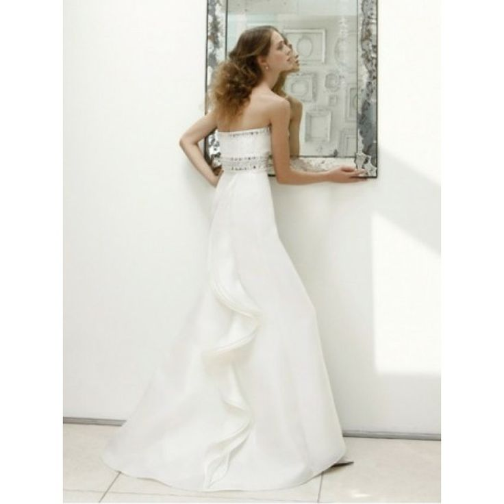 A-line Strapless Beading Brush Train Organza Wedding Dresses - 2013 Wedding Dresses - Wedding Dresses