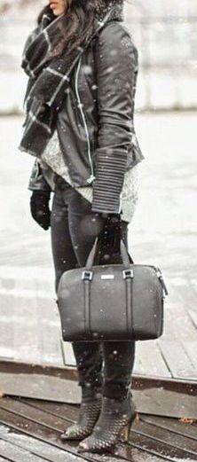 #winter #fashion / scarf + leather