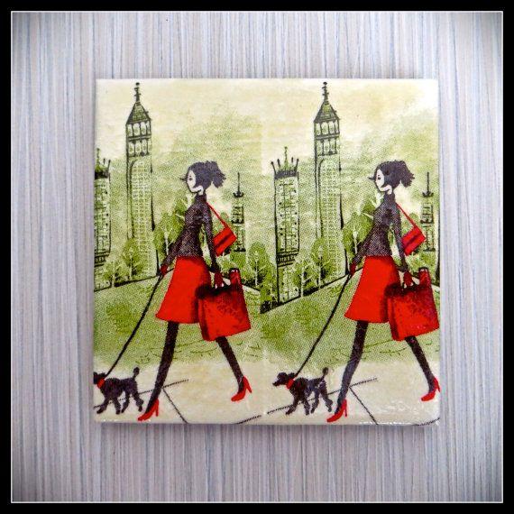 City Girl 4 Piece Ceramic Tile Drink by LuShahrinCoasterLand, $15.00