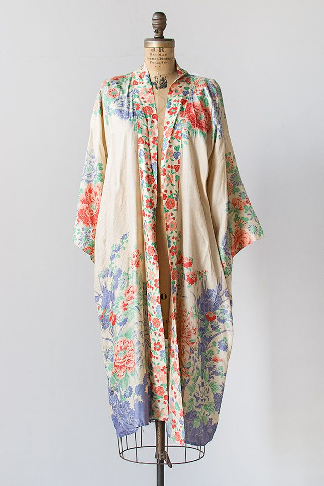 vintage 1920s floral silk crepe dechine robe  -  sold $298-- : ADORED  VINTAGE, Vintage Clothing Online Store