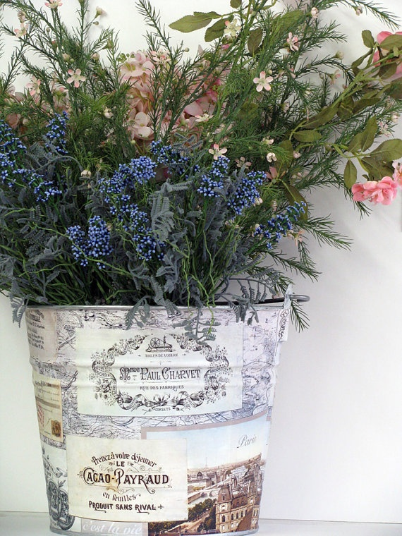 Vintage Paris Large Decoupage Storage Bucket by BethNadlerBuckets, $38.00