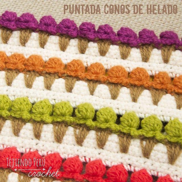 English subtitle video tutorial! Puntada conos de helado tejida a crochet: una divertida puntada decorativa! Todo el paso a paso ya está en nuestra web: tejiendoperu.com