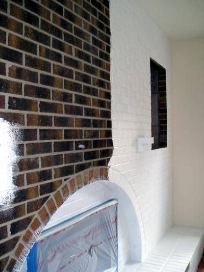 How to Paint a Brick Fireplace White--------Show Chris the one I have saved on Houzz in my idea book.  I don't like the brick all white necessarily but like some of the color still coming through