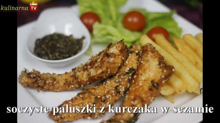 Paluszki z Kurczaka - Niezwykle smakowity kurczak na wzór naggetsów, jednak w chrupiącej panierce sezamowej i jogurcie greckim jest oszałamiająco i niepowtarzalnie pyszny, zobacz jak przygotować na Video