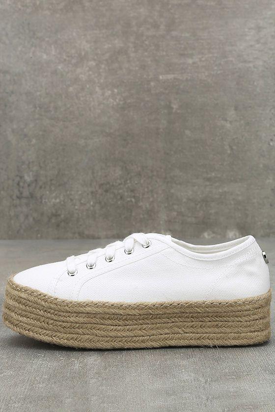 Steve Madden Hampton Sneakers - White Platform Sneakers - Espadrille Sneakers - $59.00