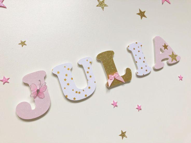 Nom personnalisé – Lettres en bois thème romantique – Julia – Or, blanc et …   – chambre fille