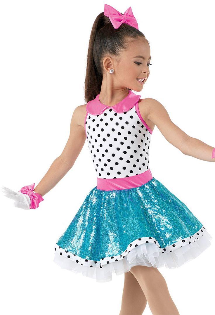 Weissman™   Polka Dot Dress with Sequin Skirt