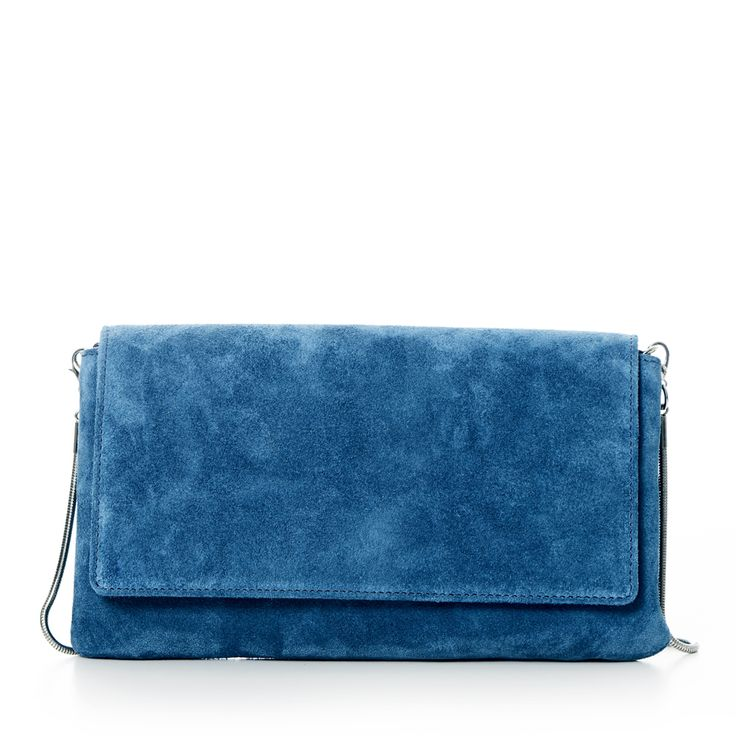 DECADENT 317 Suede clutch with strap and chain Moroccan blue
