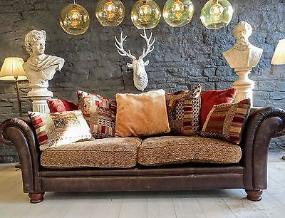 1117 Chesterfield leather vintage 3  Seater settee Sofa brown cigar club