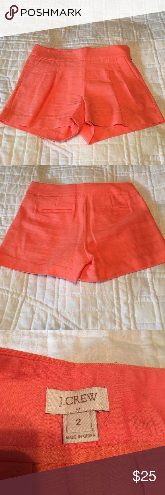 J. Crew Factory pleated coral shorts, sz 2 J. Crew Factory coral cotton/linen pleated shorts with side zipper. Size 2. J. Crew Factory Shorts