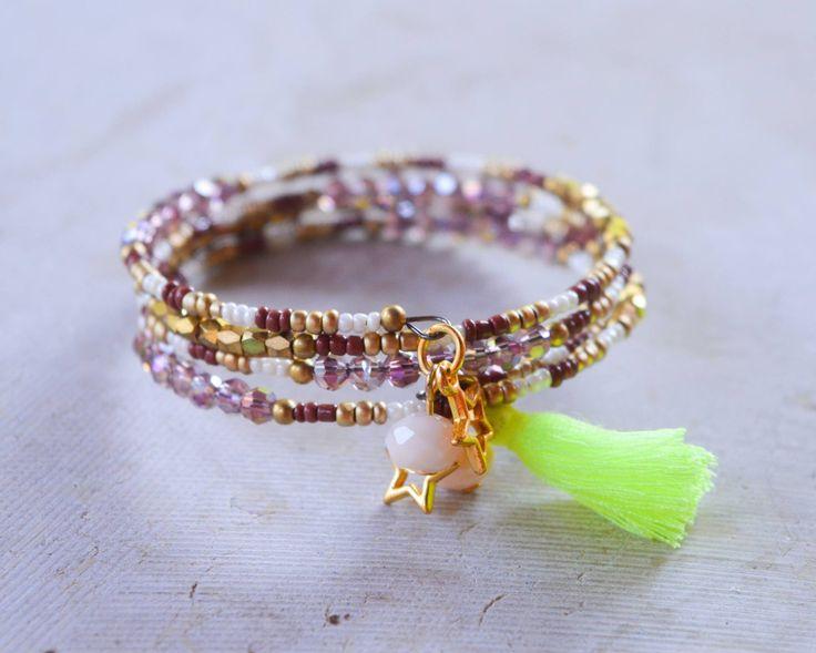 21 best bracelet perle images on pinterest pearl bracelet woman bracelet multirang perles et pompon collection perroquet les misstinguettes davignon cration fait fandeluxe Gallery