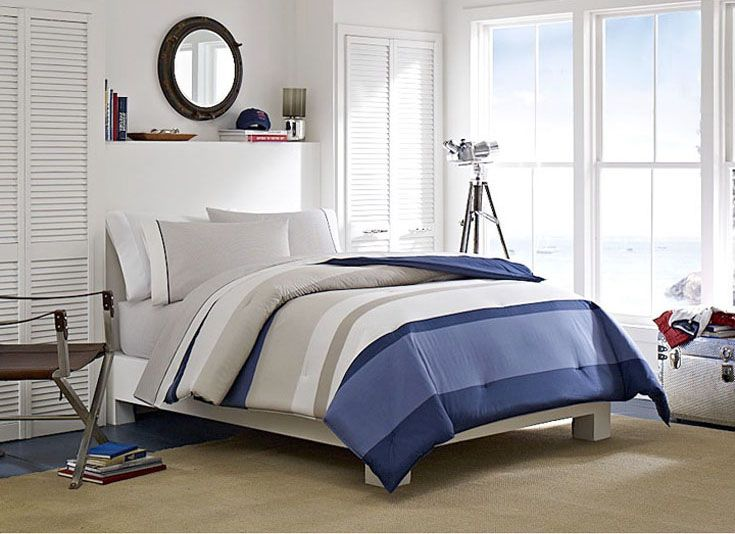 Boy room colors: Dark brown, blue, gray and white.  Grand Bank - part of the Nautica Home Collection.