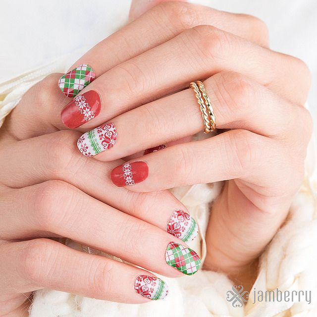Christmas Socks Jamberry nail wraps - so fun! Shop these and other nail wraps at www.RedheadManicures.com