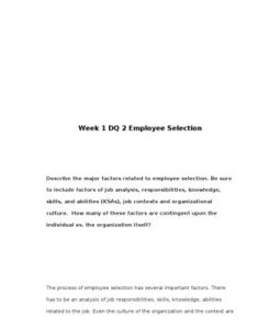 PSY302 / PSY 302 / Week 1 DQ 2 Employee Selection