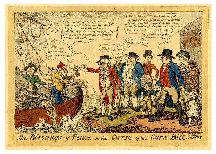 Waterloo200 - The Blessings of Peace of the Curse of the Corn Law, Cruikshank. As is so often the case, the return of peace in 1814 led to financial cut-backs by the British Government. This satirical print, drawn by George Cruikshank, is a comment on one of the most unpopular pieces of legislation, the Corn Bill of March 1815.  http://www.nam.ac.uk/waterloo200/200-object/the-blessings-of-peace-of-the-curse-of-the-corn-law-cruikshank/  #W200Items