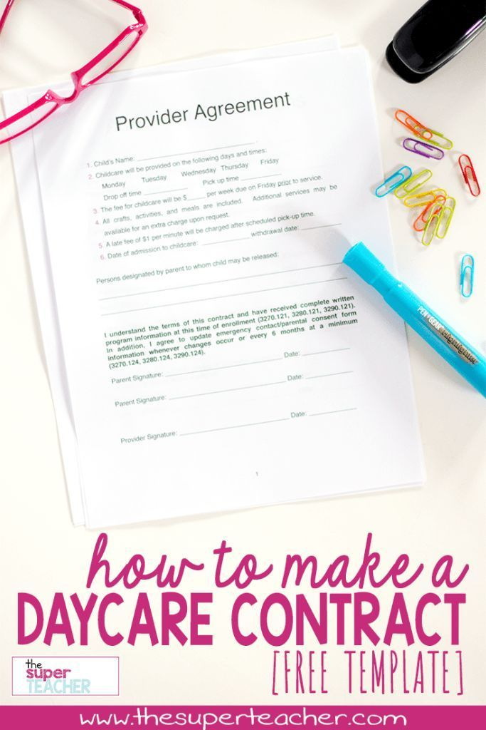 This Is A Free Template For Your Daycare Contract The Blog Post
