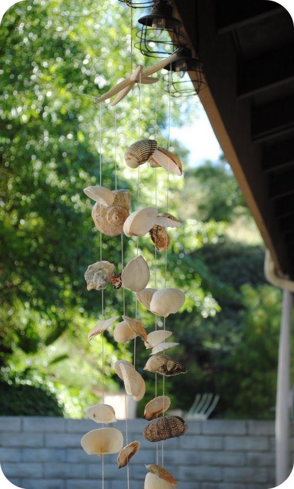 Windspiel aus Muscheln basteln terrasse deko sommer