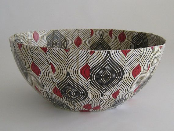Decorative Paper Mache Bowl  African Decor   Art por africaohafrica