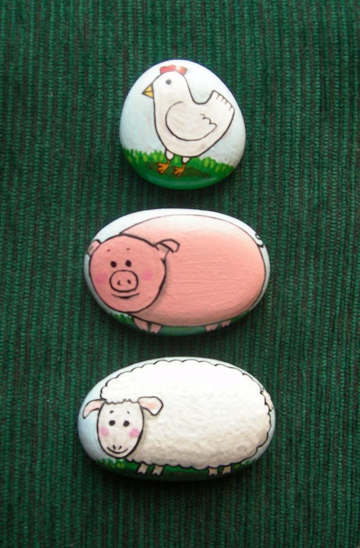 piedras pintadas de cerdo - Buscar con Google
