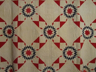 Quilts In The Barn: 1860's Antique quilt. Love the setting with snowball blocks!  It really adds to the lonestar blocks