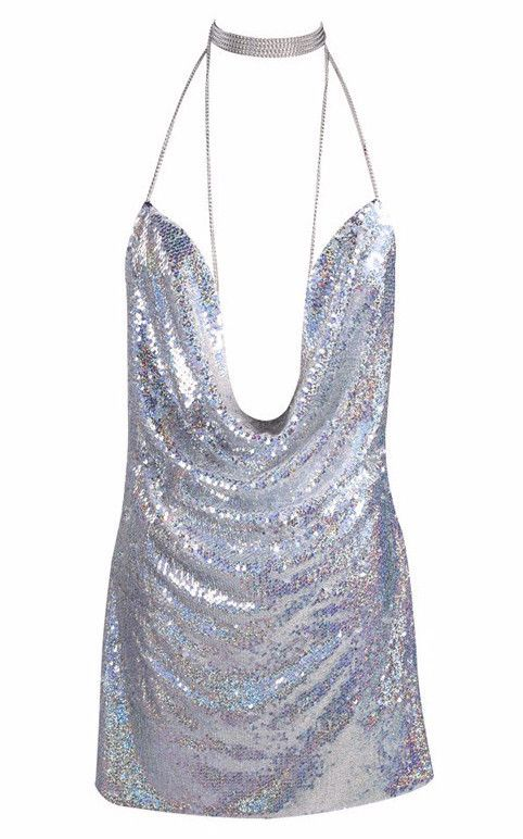 A must-have for New Years Ever for the girl who likes to shimmer, shine and celebrate the Holidays in serious style. As seen on Kendall Jenner and Paris Hilton this drape neck glam sequined mini with
