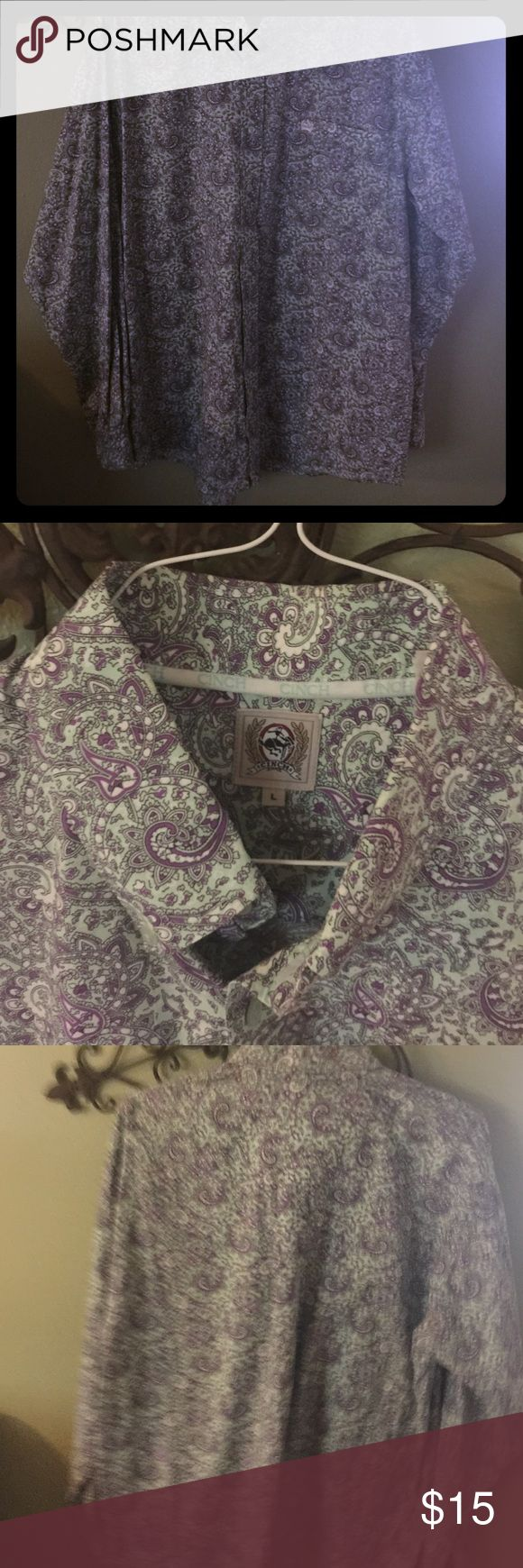 Cinch Shirt Men's Large Fashionable Western Shirt By Cinch . Button Up. Point Collar men's Large Cinch Shirts Casual Button Down Shirts