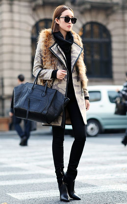 style muse: Street Fashion, Fur Coats, Inspiration, Fashion Style, Jackets, Street Styles, Celine Bag, Bags, Camo Jacket