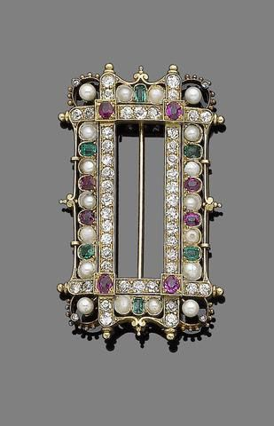 A late 19th century gem-set, pearl and diamond brooch. Of gothic inspiration, the large openwork rectangular plaque, composed of four old brilliant-cut diamond lines highlighted at their intersection with oval-cut rubies in square collet-settings, within a pearl and half-pearl, similarly-cut ruby and step-cut diamond surround, decorated with rose-cut diamonds, beading and scrolling details, old brilliant-cut diamonds approx. 1.75cts total, probably converted from a buckle