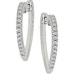 Silver 1/4ct TDW Diamond Heart Hoop Earrings (J-K, I3) Amour. $64.00