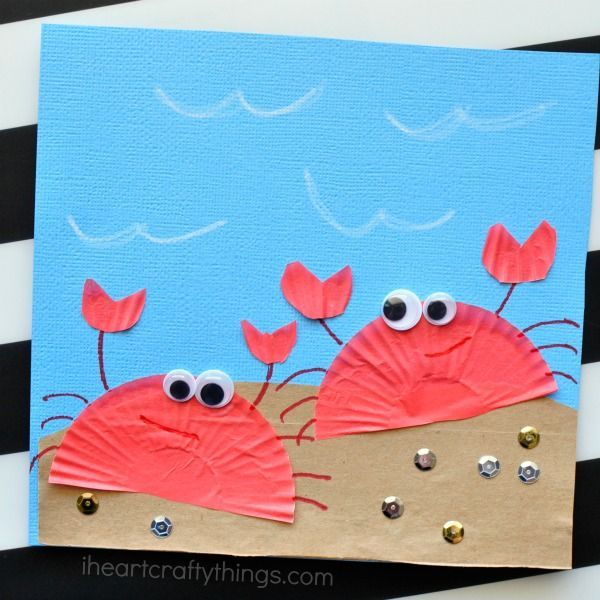 Cupcake Liner Crab Craft For Kids Toddler Summer CraftsDiy