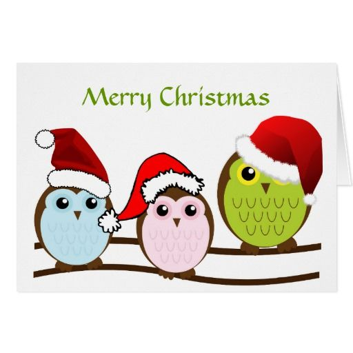 Owl Christmas Card - one of my more popular designs for Christmas, because who doesn't love a little 'Santa' owl family!