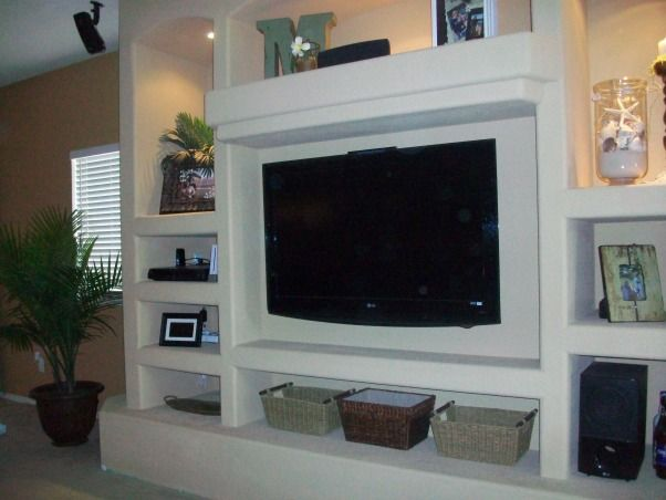 Custom drywall entertainment centers center for our for Drywall designs living room