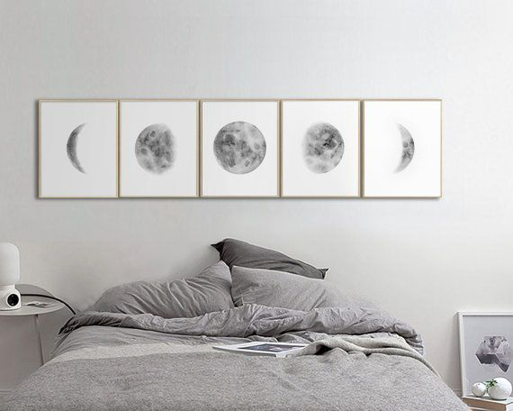 Large Moon Phases Prints, Set Of 5 Watercolor Lunar Phases Moon Art Print,  Grey