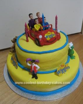 Homemade Wiggles Birthday Cake: This Wiggles birthday cake was made for my son's 3rd Birthday. I made two large round cakes (golden buttercake), in two different sized tins. I halved