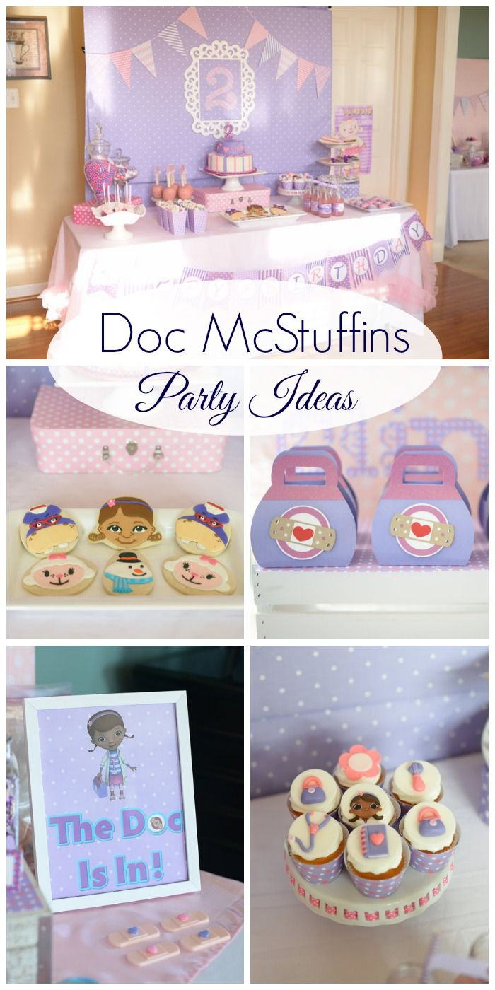 Fantastic Doc McStuffins party for a girl birthday! Love the decorations, cake, and dessert table! See more party ideas at CatchMyParty.com.